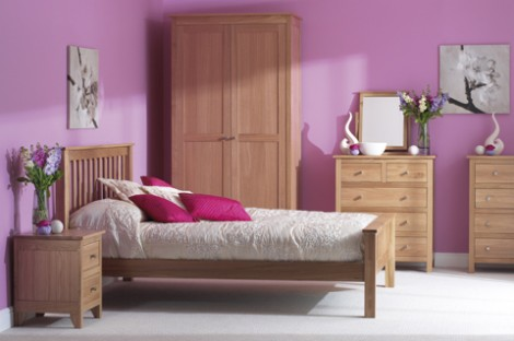 Oak Bedroom range double wardrobe with drawer