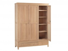 Oak Bedroom range triple wardrobe with drawers